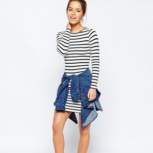 ASOS Navy blue and white striped body con dress